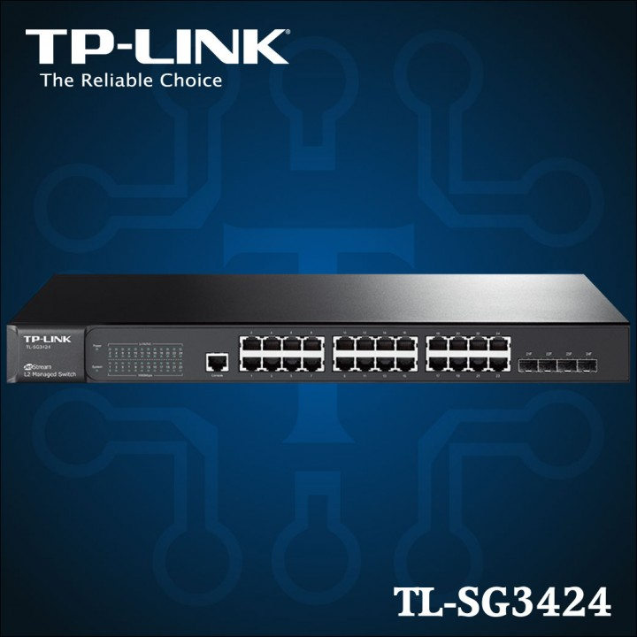 TL-SG3424 - Gigabit L2 JetStream 24-Port Switch gestionable con 4 ranuras SFP Combo-01